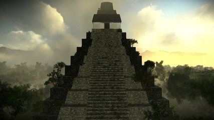 Aerial view of an ancient pyramid in the forest in Tikal.