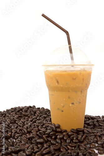 Iced coffee with coffee beans isolated on white background