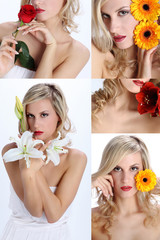 composition of beautiful girl with various flowers