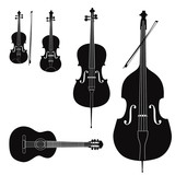 Music Stringed instruments set. Silhouette on white background.