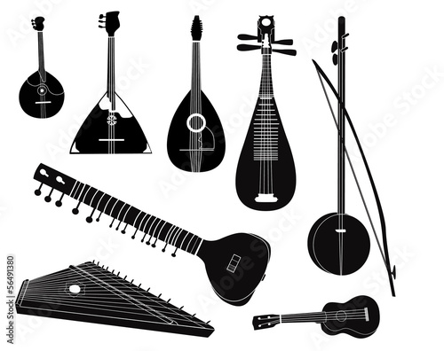 Ethnic music instruments set. Silhouette on white background.