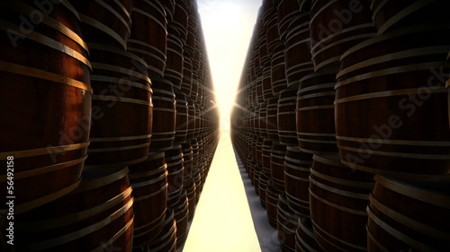 Stacked wooden barrel