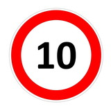 10 speed limit sign