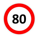 80 speed limit sign