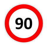 90 speed limit sign