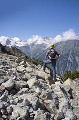 Hiker in Alpine landscape