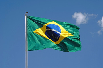 Brazilian flag in blue sky