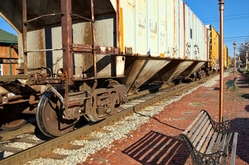 Old Train on Tracks