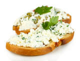 Sandwich with cottage cheese and greens isolated on white