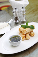 Spring rolls with dip