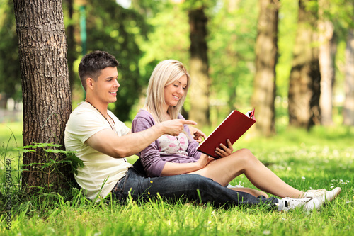 Heterosexual couple sitting and reading a novel in a park