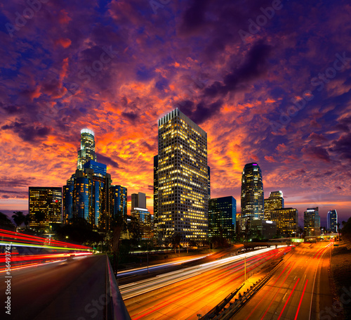Fototapeta Downtown LA night Los Angeles sunset skyline California