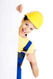 Female construction worker with blank board