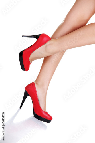 Woman's leg and high heel shoes