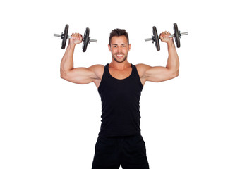 Handsome muscled man training