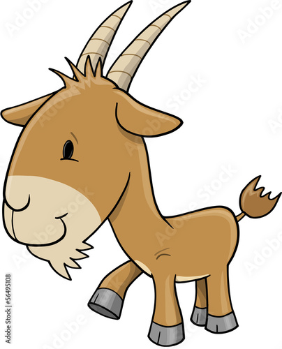Farm Goat Vector Illustration Art