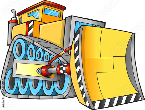 Cute Construction Bulldozer Vector Illustration Art