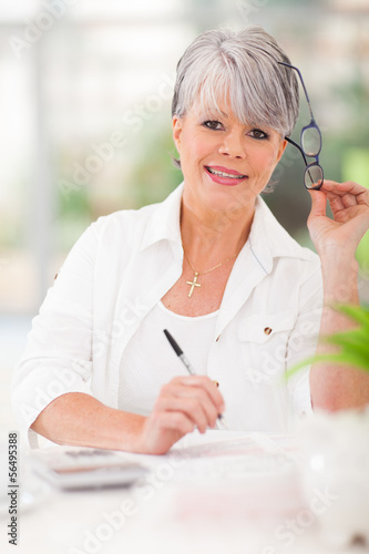 senior woman doing home finances