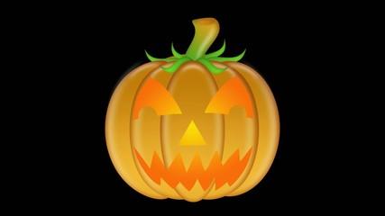 Flickering Candlelit Carved Pumpkin on Black Background