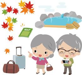 シニア夫婦の秋の観光旅行
