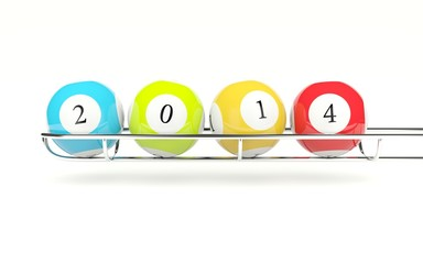 2014 lottery balls isolated on white