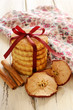 Apple cinnamon cookies  with red ribbon and bow