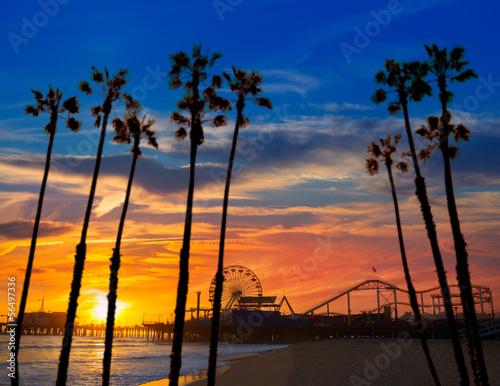 Fototapeta Santa Monica California sunset on Pier Ferrys wheel