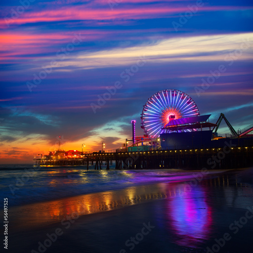 Spoed canvasdoek 2cm dik Los Angeles Santa Monica California sunset on Pier Ferrys wheel