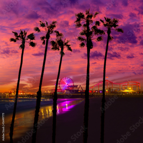 Fototapeta Santa Monica California sunset on Pier Ferrys wheel
