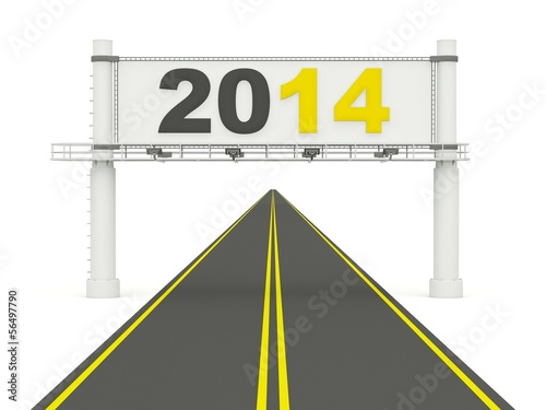 2014 New Year sign on the road