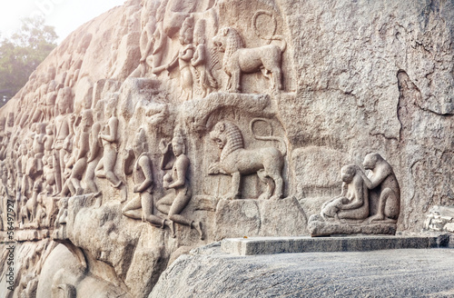 Ancient basrelief in Mamallapuram