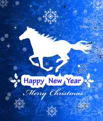 The New Year Horse.Vintage retro vector Christmas card