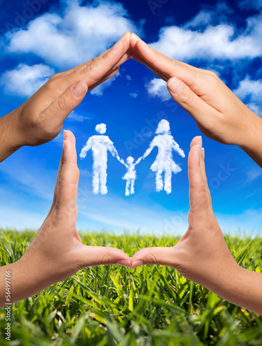 family symbol in home: hands and clouds in nature
