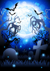Vector background of a scary cemetery at night