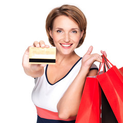 Woman with purchasing  and credit card