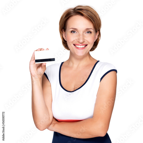 Portrait of a beautiful  happy woman with credit card