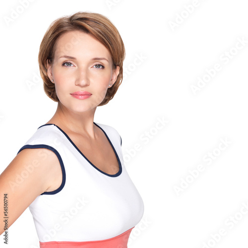 Portrait of a beautiful young adult white serious woman