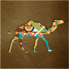 Camel decorative silhouette ornament - vector illustration
