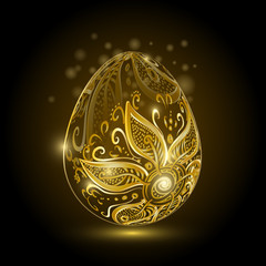Golden easter egg with floral ornament