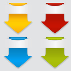Vector set of colored arrows