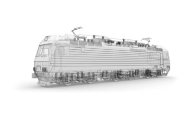 Gray locomotive 3d model isolated on white background