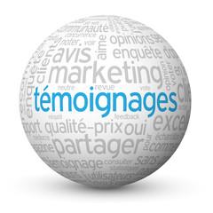 """Globe - Nuage de Tags """"TEMOIGNAGES"""" (avis clients utilisateurs)"""