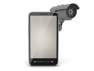 Video surveillance camera and cell phone