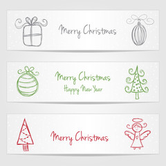 Banners with christmas doodles