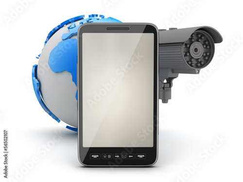 Security camera, cell phone and earth globe