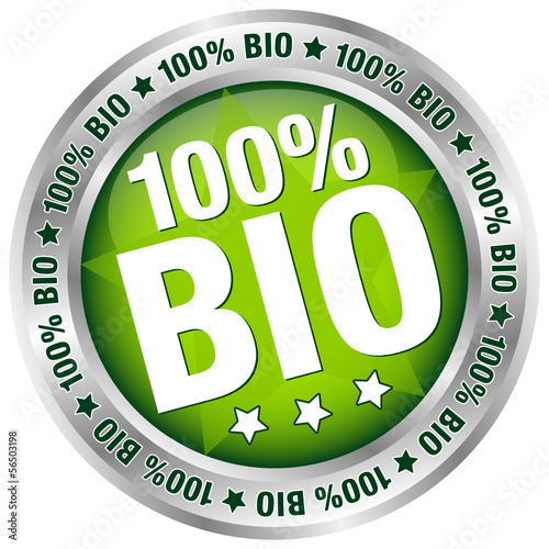 "Button ""100% BIO"" Green/Silver"