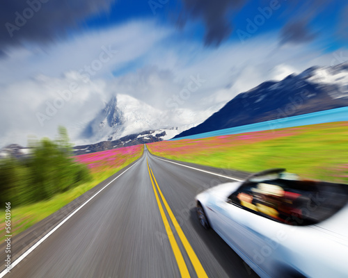 Sports car in motion blur