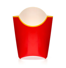 Empty french fries box isolated on white with clipping path