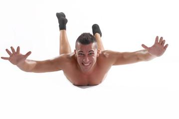 Hombre volando,caída libre.