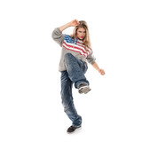 Young woman performer dancing hip hop in studio, isolated